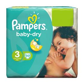 Pampers Baby-Dry Size 3, 30 Nappies