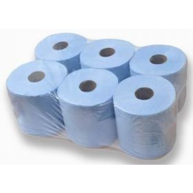 Economy Blue Centre Feed Tissue Rolls, Pack of 6, 95m Roll