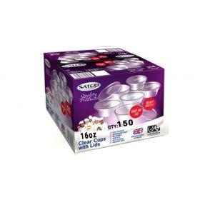 Satco 16oz Round Plastic Pots & Lids M16 Pack of 150