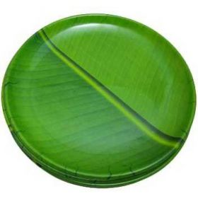 Seelans Superstore Banana Leaf Plastic Round Plate