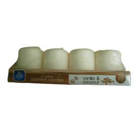 Pan Aroma 4 Votive Scented Candles, Vanilla & Coconut, 32 Hours Burn Time