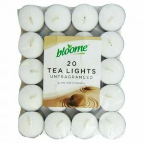 Bloome 20 Tea Light Unfragrance Candles, 3.5 Hours Burn Time Each