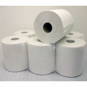 Economy White Centre Feed Tissue Rolls, Pack of 6, 95m Roll