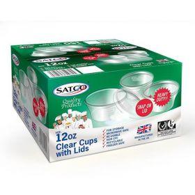 Satco 12oz Round Plastic Pots & Lids M12 Pack of 150