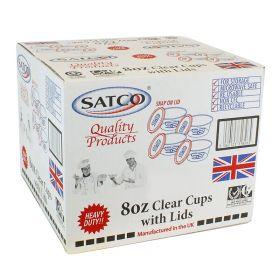 Satco 8oz Round Plastic Pots & Lids M8 Pack of 225